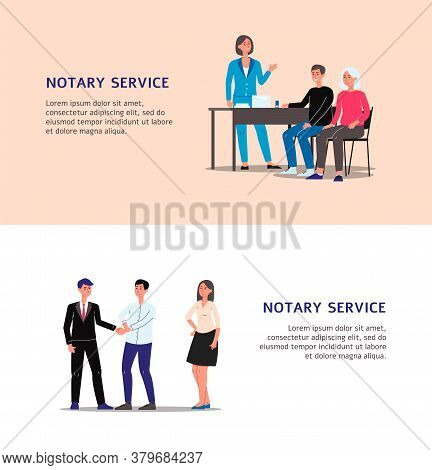 Notary Service Banner Set With Cartoon Man And Woman Notaries