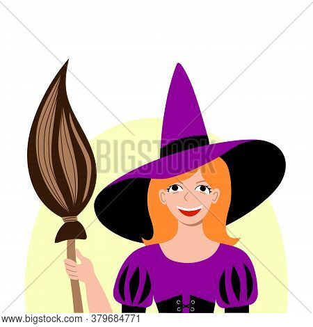 Child Dressed As A Witch For A Halloween Carnival Party. Social Media Avatar. Masquerade Costume Poi
