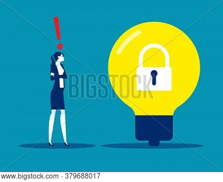 A Woman Pondered Next To A Light Bulb With A Lock Locked