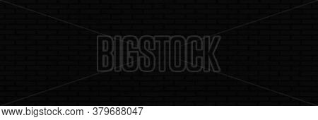 Abstract Black Brick Wall Panorama Background. Brickwork Texture For Office Design Backdrop.