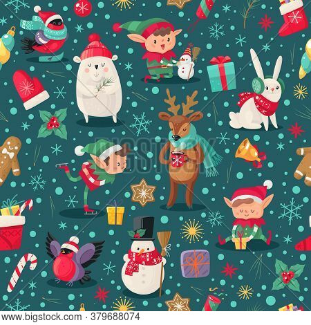 Christmas Characters Seamless Pattern. Santa Claus Helpers, Deer And Snowman, Elf And Arctic Bear Wi