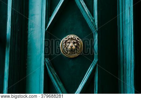 The Face Of A Lion In Gilding On A Green Door In A Rhombus.