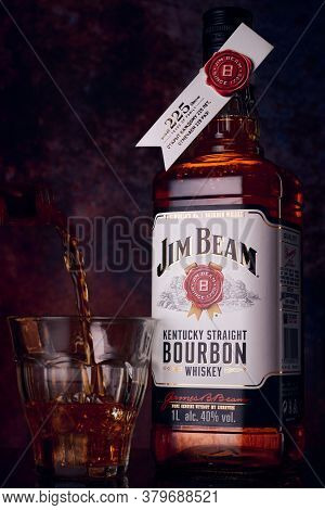 Russia, Moscow - August 3 , 2020: Jim Beam Is One Of Best Selling Brands Of Bourbon In The World, Pr