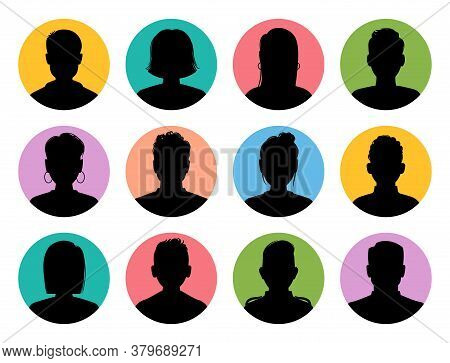 Silhouette Heads. Male And Female Head Silhouettes Internet Avatar, Profile Circle Icons, Woman And