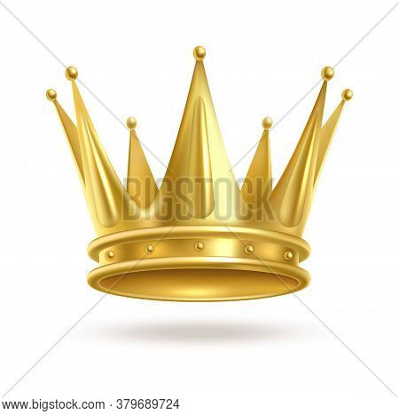 Realistic Golden Crown. 3d Elegant Queen Or King, Princess Or Prince Luxury Accessory. Monarch Majes