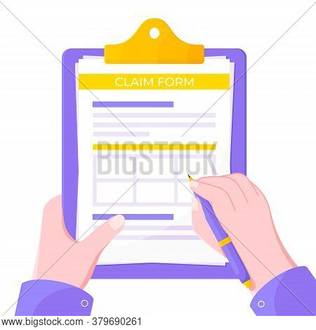 Hand Signs Clipboard With Claim Form On It, Paper Sheets, Pen Isolated On White Background Flat Styl