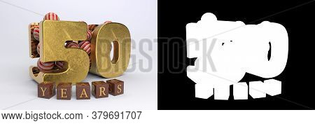 Number 50 (number Fifty) Anniversary Celebration Design With Round Candies And The Inscription Years