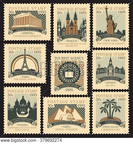 Set Of Old Postage Stamps On The Travel Theme With Architectural And Historical Landmarks From Aroun
