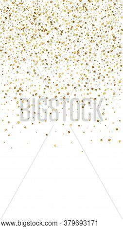 Festive Uncommon Confetti. Celebration Stars. Gold Confetti On White Background. Grand Festive Overl
