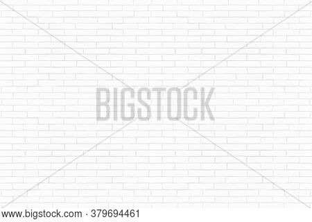 Modern White Brick Wall Texture Background. Abstract Brickwork For Backdrop.