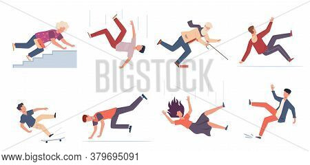 Falling Down People. People Of Different Ages Stumblng And Jumping Down Stairs, Slipping Wet Floor,