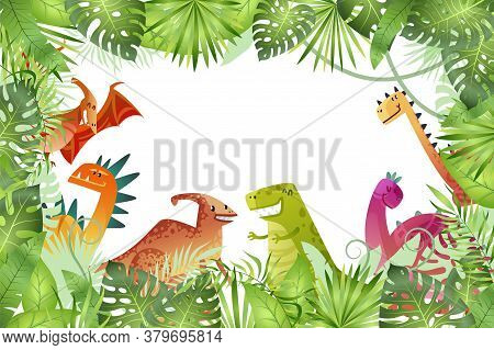 Jungle Background. Funny Dinosaurs On Rainforest Background, Animal Dragon And Cute Nature Reptile I