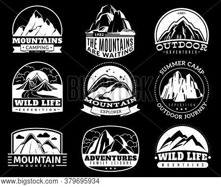 Mountain Emblems. Mountaineering Camp And Adventure Tourism, Hiking Expedition Retro Labels Vintage