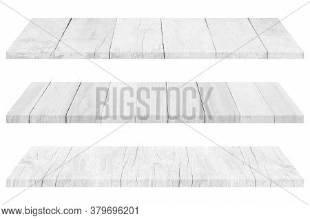 Set Of Wooden White Tabletop Or Wood Shelf Isolated On White Background. Object With Clipping Path.