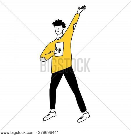 Doodle Man With Raised Hand In Yellow Sweater And Black Pants. Simple Line Drawing Of Student With B