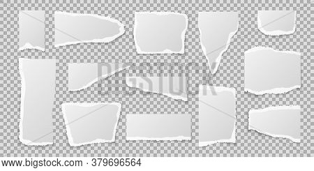 Torn Paper Pieces. Realistic Page Edges Set, Blank Or Empty White Lacerated Square Notebook Sheet In
