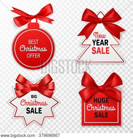 Christmas Sale Labels. Holidays Discount Price Tags With Red Bows Xmas Offer, Promotion Marketing Wi