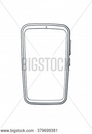 Cartoon Smartphone With Full Touchscreen Off. Outline. Vector Illustration. Modern Smart Mobile Phon