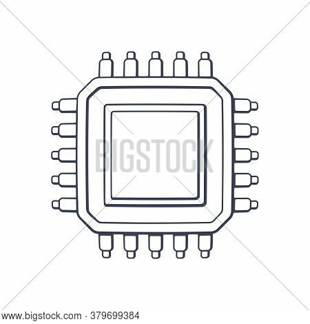 Electronic Integrated Circuit Top View. Outline. Vector Illustration. Computer Microchip Or Nano Pro