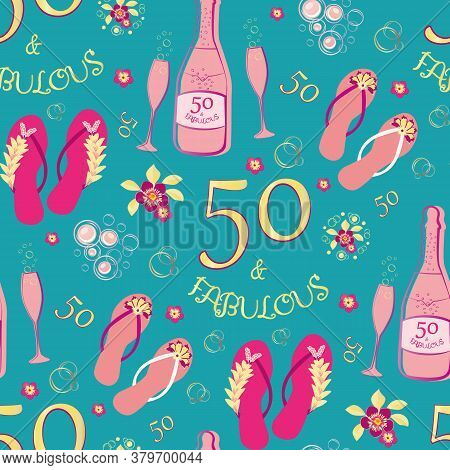 Fifty And Fabulous Seamless Vector Pattern Background. Luxurious Pink, Gold, Aqua Blue Backdrop With