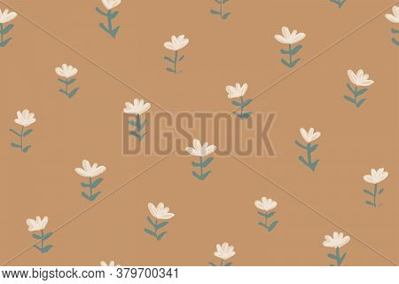 Tiny Flower Sprouts Seamless Vector Pattern. Field Of Flowers Sprouting Out Here And There. Pastel P
