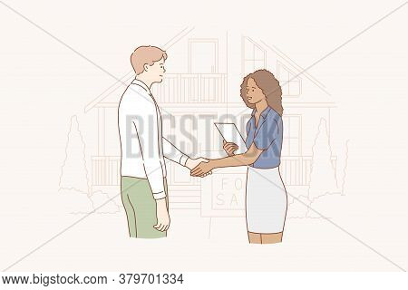 Business, Buy, Demonstration, Sale Concept. Young Happy African American Woman Realtor Real Estate A