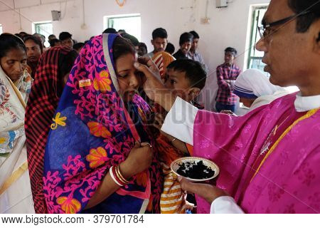 CHUNAKHALI, INDIA - FEBRUARY 26, 2020: Ash Wednesday celebration in a catholic church in Chunakhali, West Bengal, India