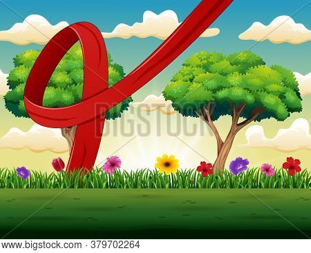 Illustration Of World Aids Day With Nature Background