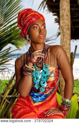 Portrait Of A Young And Attractive African American Black Woman In The National African Dress Agains