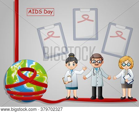 World Aids Day Awareness Red Ribbon Sign With Male And Female Doctor
