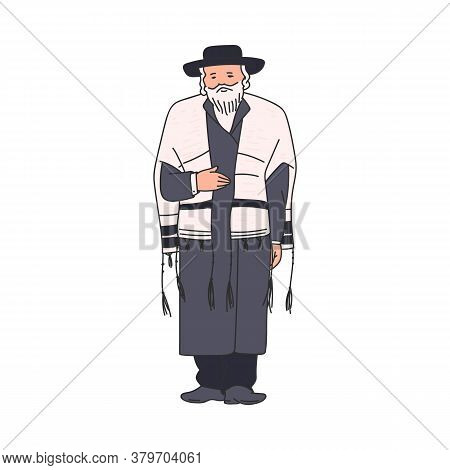 Elderly Jewish Religious Orthodox Man Sketch Vector Illustration Isolated.