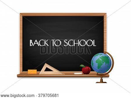 School Board With Text Written In Chalk. Blackboard With The Inscription. Back To School. School Ban