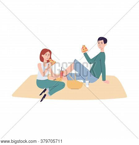 Couple Picnic - Cartoon People Eating Food Sitting On Blanket