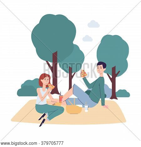 Couple On Picnic Sitting On Blanket And Eating Pizza - Cartoon Man And Woman