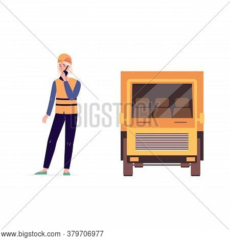 Transportation Worker And Yellow Delivery Truck - Cartoon Woman And Lorry