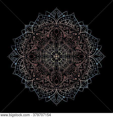 Round Gradient Mandala Isolated Background. Vector Boho Mandala Mandala With Floral Patterns. Yoga T