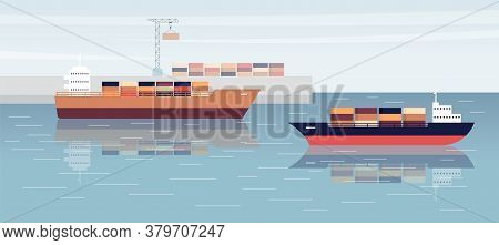 Sea Shipping Background With Cargo Ships In Port Flat Vector Illustration.