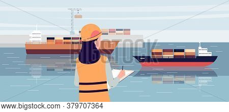 Industrial Ship Port Worker Standing On Loading Dock And Writing In Notepad
