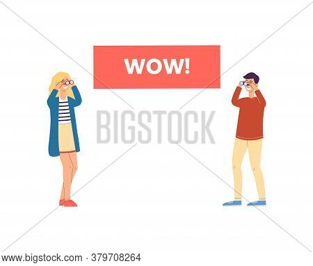 Advertising Sale Banner - Wow Word And People, Vector Illustration Isolated.