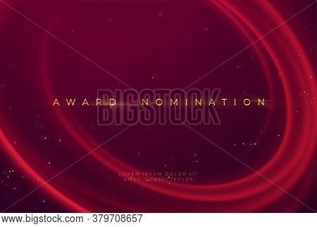 Award Nomination Ceremony With Luxurious Red Wavy Background With Gold Glitter And Sparkle. Vector I