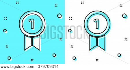 Black Line Medal Icon Isolated On Green And White Background. Winner Achievement Sign. Award Medal.