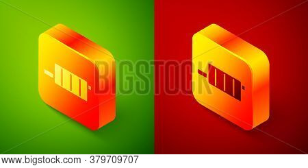 Isometric Car Muffler Icon Isolated On Green And Red Background. Exhaust Pipe. Square Button. Vector