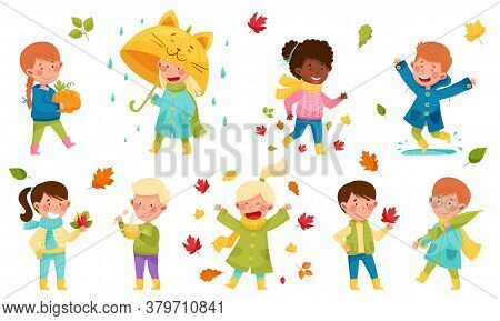 Children Characters Walking With Umbrella, Throwing Autumn Leaves And Picking Mushrooms Vector Illus