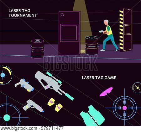 Laser Tag Tournament Banner Set With Equipment And Player With A Gun
