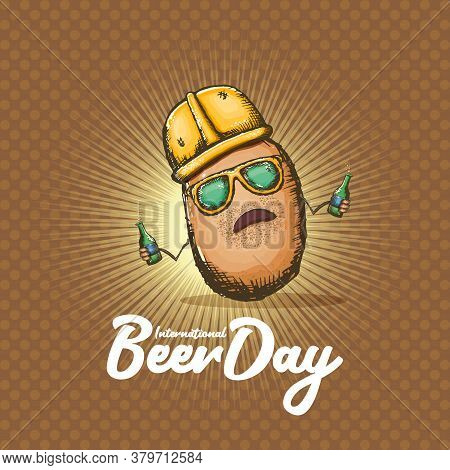 Happy International Beer Day Banner With Cartoon Funny Potato Character Holding Beer Bottle Isolated
