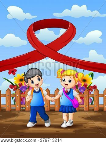 Happy Aids Day With Two School Kids