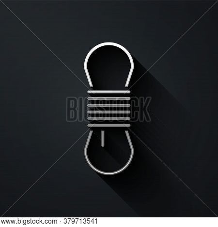 Silver Climber Rope Icon Isolated On Black Background. Extreme Sport. Sport Equipment. Long Shadow S