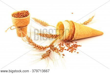 Composition With Wheat Ear, Spike, Crisp Waffle And Tie Isolated On White Background.