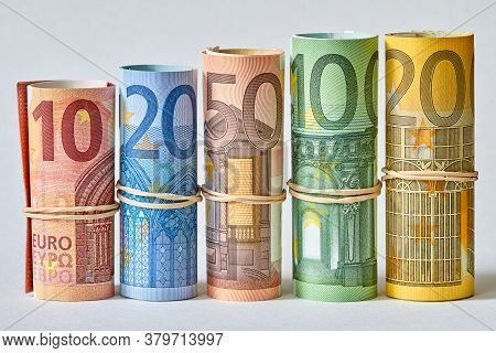 Ten, Twenty, Fifty And One And Two Hundred Euro Bill Rolled Up As A Tubule. Euro Banknotes Details I