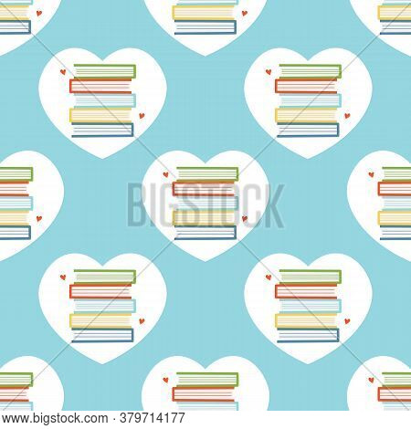 Vector Seamless Pattern Background With Piles Of Books In Heart Frame For National Book Lovers Day.
